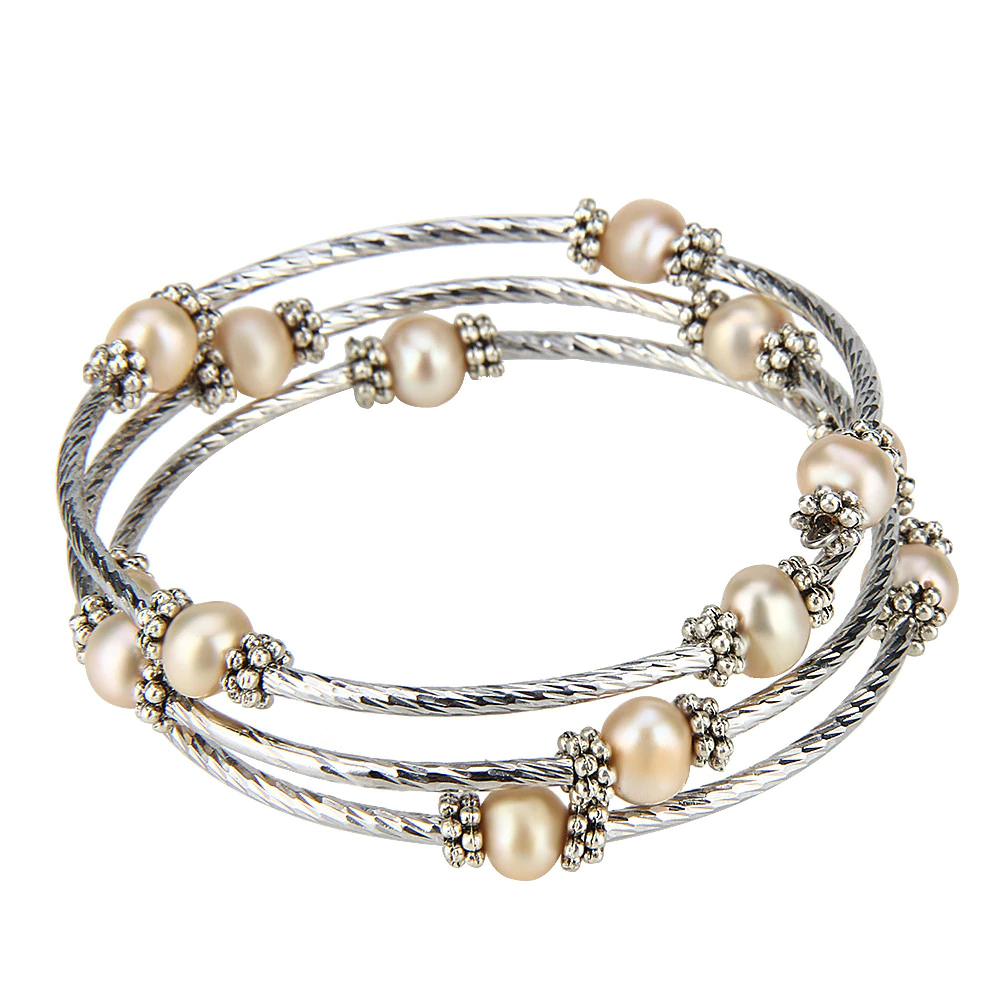 Cly Adjule Silver Plated Wire Wrap Bracelet With Copper Color Pearls
